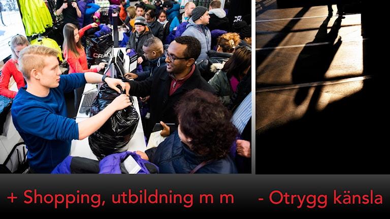 Bild på personer som köper varor samt bild på skugga över gata i mörker.