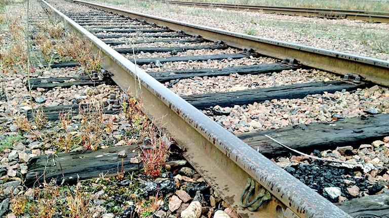 Järnvägsspår på Orsa bangård.