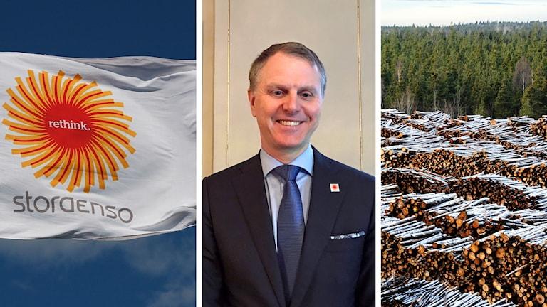 Tre bilder på dels en flagga med text Stora Enso, dels Per Lyrvall som ler och dels ett snötäckt timmerupplag.
