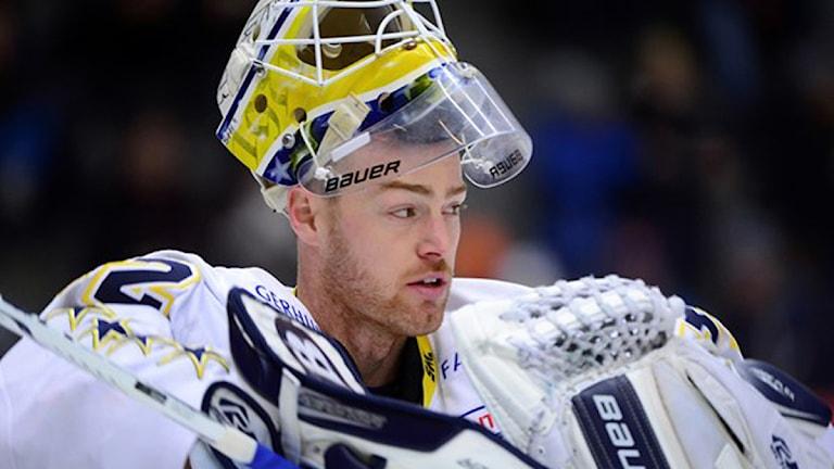Hotet riktades mot HV71-spelaren Gustaf Wesslau. Foto: Robert Granström/TT