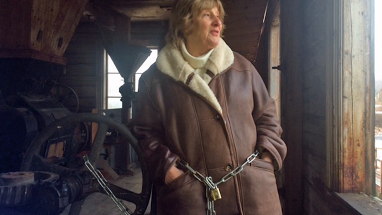 I ett försök att stoppa rivningen av kvarnen vid Stackmoradammen i Orsa så kedjade Barbara Sundberg fast sig i kvarnen. Men hon fick se sig besegrad.