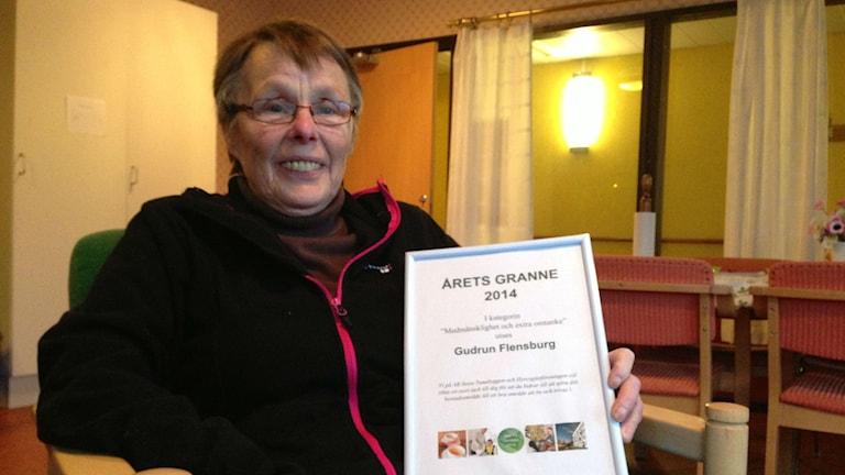 Gudrun Felnsburg, årets granne i Borlänge 2014. Foto: Lars Svan/Sveriges Raido.