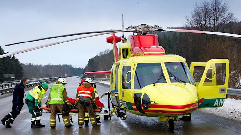 Först i december ska själva ambulanshelikoptern vara på plats i Mora. Foto: TT