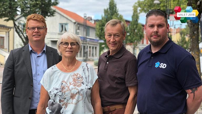 Fredrik Rönning (S), Lotta Gunnarsson (M), Göran Engström (C) och Johan Persson (SD).