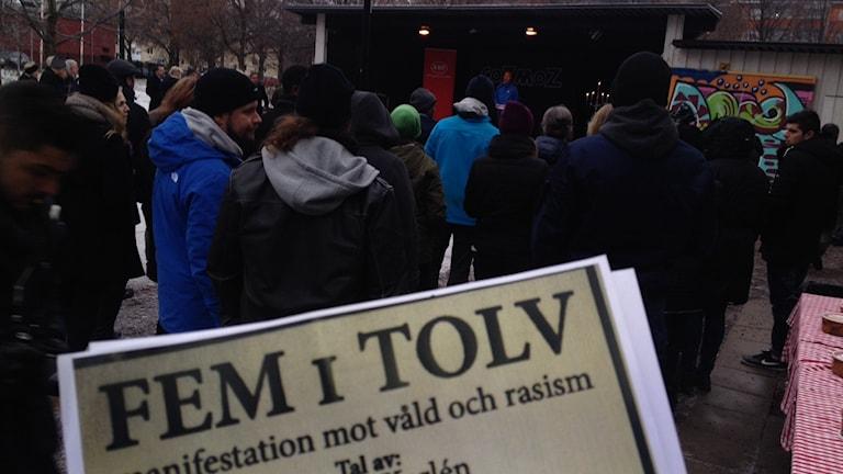Fem i Tolv-rörelsen höll manifestation i Borlänge. Foto: Matilda Eriksson Rehnberg, Sveriges radio.