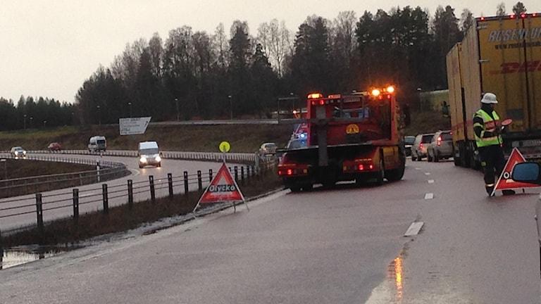 Olycka på E16 i Falun