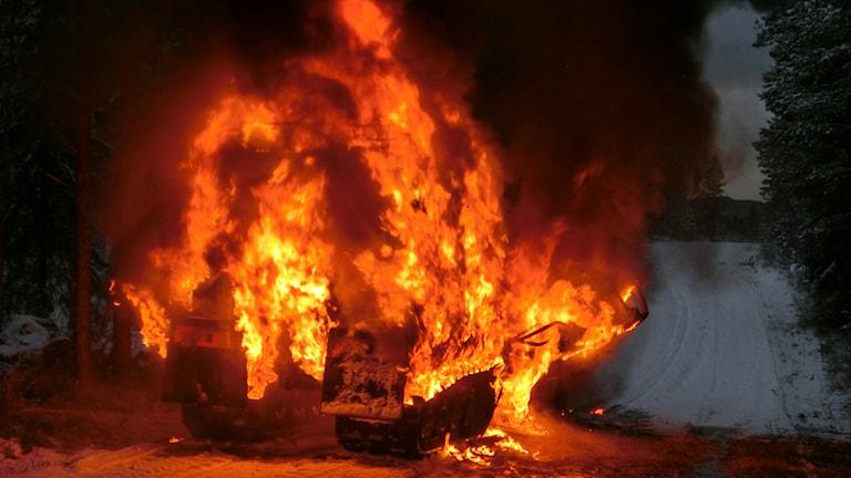Bandvagn fattade eld under preparering av Vasaloppsspåren. Foto: Mora brandkår