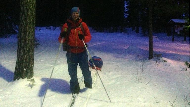 Niclas Benzer tränar inför äventyret. Foto: Lars Svan/Sveriges Radio.