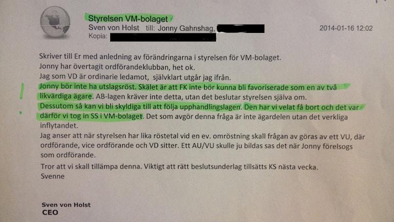 Mail från Sven von Holst till bland annat Jonny Gahnshag.