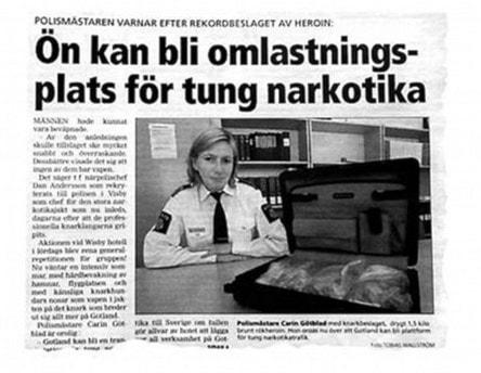 Tidningsutklipp från Gotlands Allehanda 2008 med Carin Götblad.
