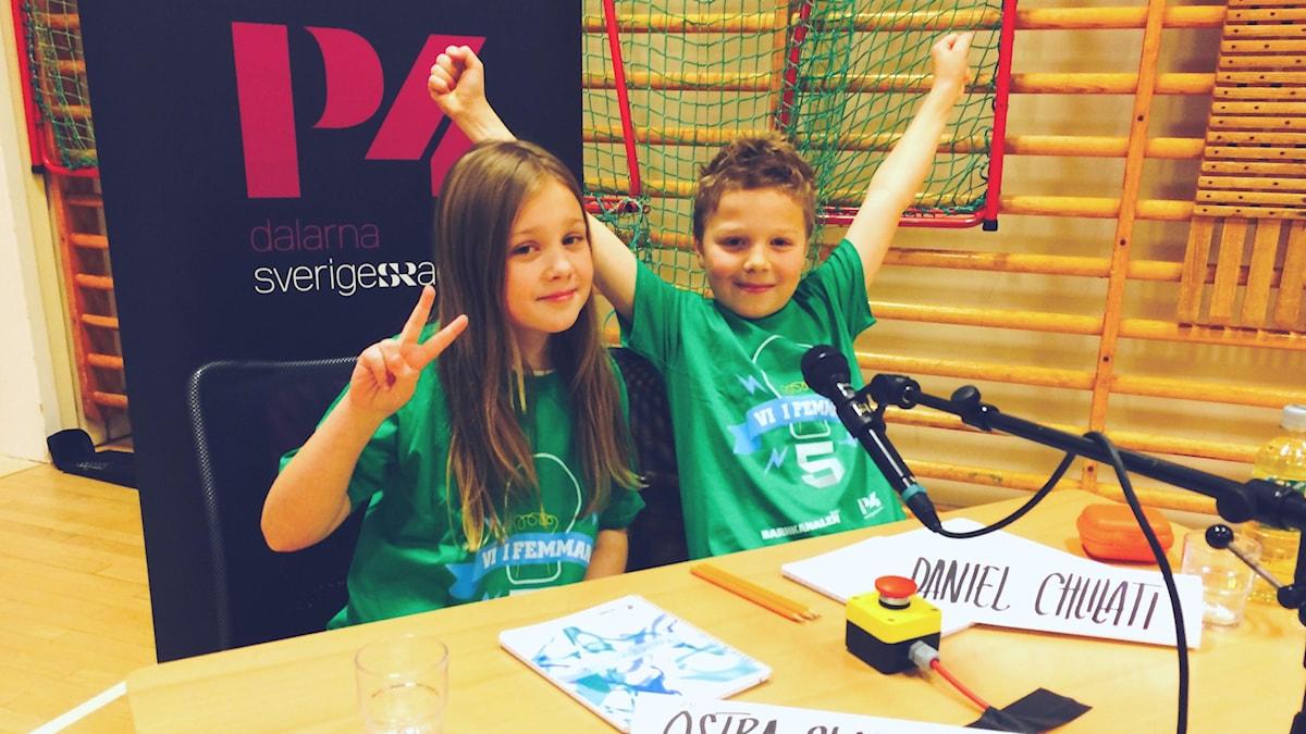 Frida och Daniel från Östra skolan 5B. Foto: Tobias Gruhs.