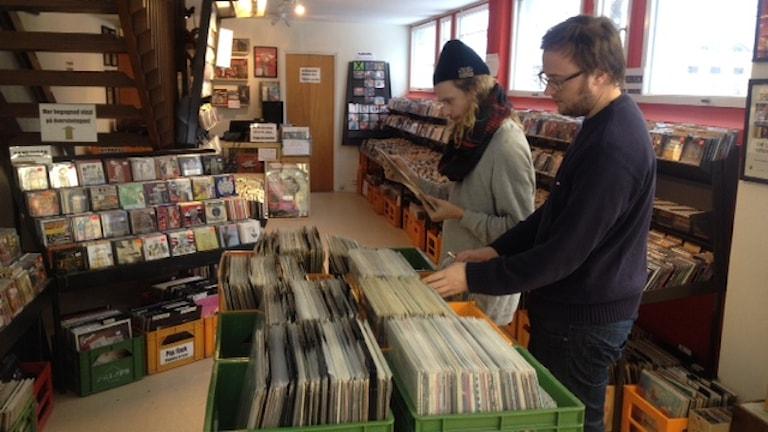 Vinylskivor hos skivbutiken i Falun. Foto: Matilda Eriksson Rehnberg, Sverigesradio.