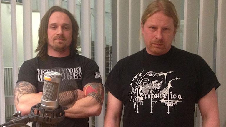 Sångaren Alexander Högbom och basisten Martin Schulman i Centinex.