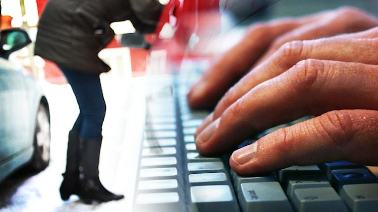 En kvinna på väg in i en bil och händer vid ett tangentbord.