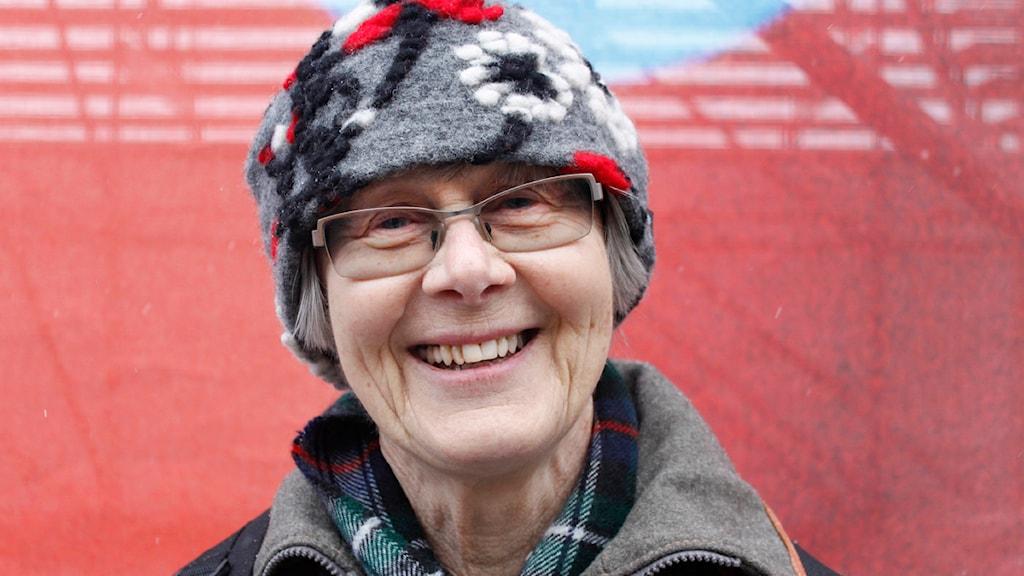 Monika Holmgren besökte VM-stadion. Foto Gabriel Tjulander,Sveriges radio.