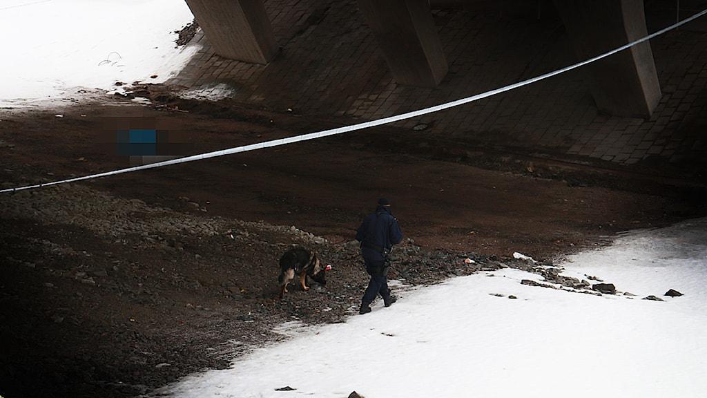 En person hittades död under morgonen under en bro intill järnvägsstationen i Falun. FOTO: Sofie Lind/Sveriges Radio.
