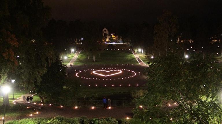 Fotot visar en park på kvällen där marschaller lyser upp parken.