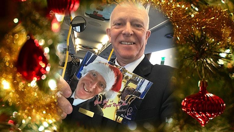 Per Daniels med sitt julkort