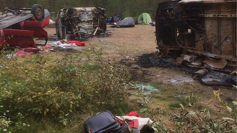 Skräpigt vid tältläger i Rättvik mellan Dådran och Ingels