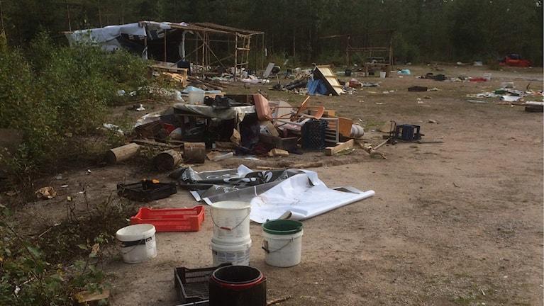 Skräpingt vid tältläger i Rättvik mellan Dådran och Ingels