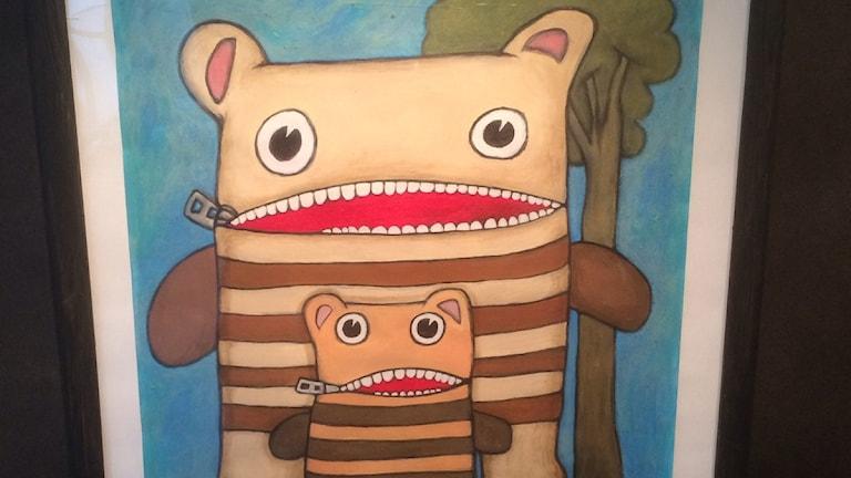 Mor och son målar