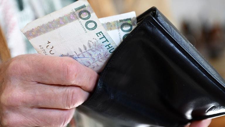 En plånbok med pengar