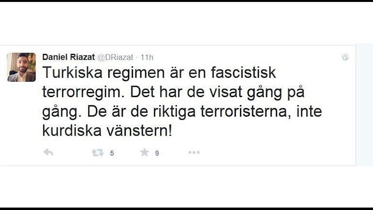 Skärmdump från Daniel Riazats Twitterkonto.