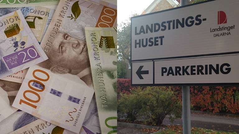 Pengar och skylt vid landstinget