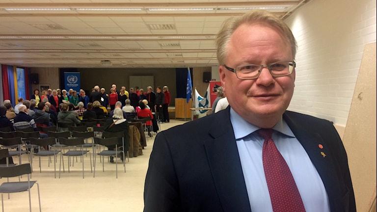 Peter Hultqvist (S), försvarsminister. Bilden tagen under ett besök i Borlänge i oktober 2015.