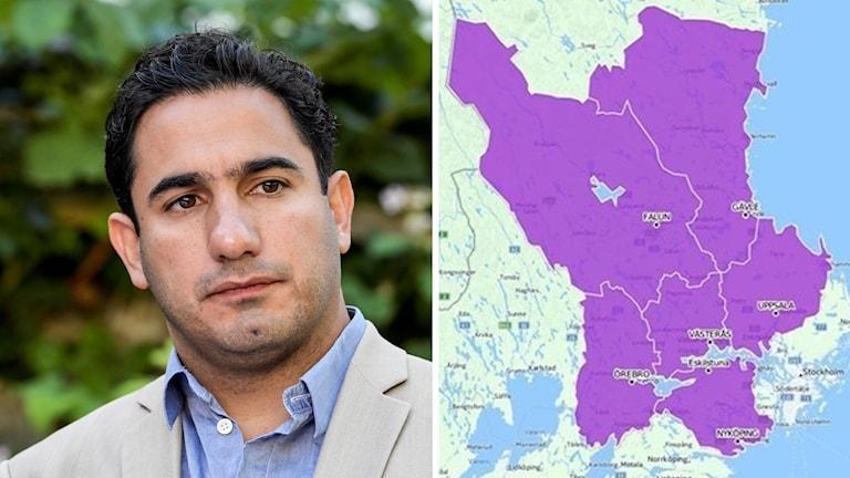Civilministern Ardalan Shekarabi och en karta över tilltänkta Region Svealand.