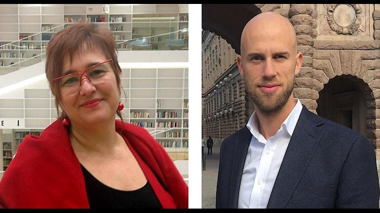 Marita Hilliges, rektor för högskolan Dalarna, och Carl Oskar Bohlin, moderat riksdagsledamot från Borlänge.