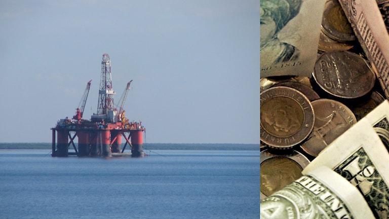 En oljeplattform och pengar