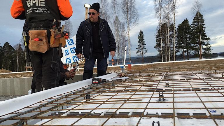Bild från byggarbetsplats i Ludvika.