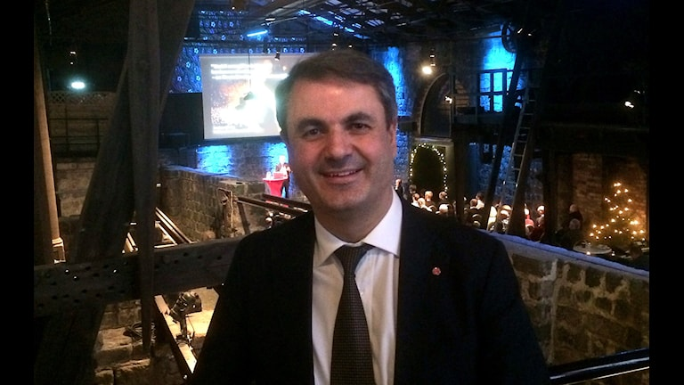 Bilden visar socialdemokratiske energiministern Ibrahim Baylan i Verket i Avesta.