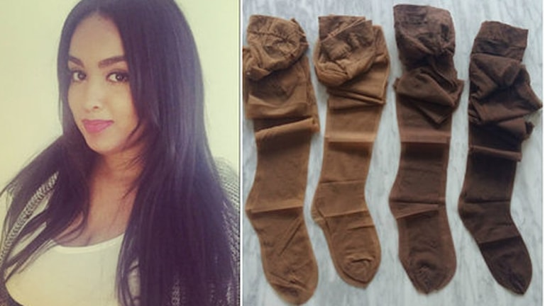 Suad Sheikhnur från Falun gör hudfärgade strumpbyxor i många nyanser.