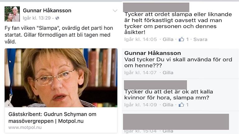 Skärmdump från Gunnar Håkanssons Facebook-sida.
