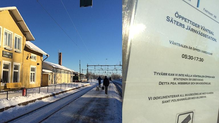 Bilden visar tågstationen i Säter samt ett anslag på dörren till väntsalen.