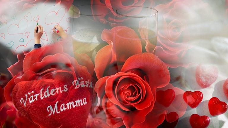 Bild på blommor och hjärtan