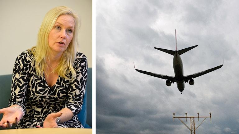 Bilden är ett montage och visar dels infrastrukturminister Anna Johansson, dels ett flygplan.