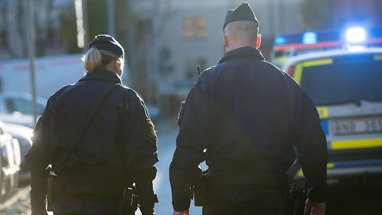 Bilden visar ryggarna av två poliser.
