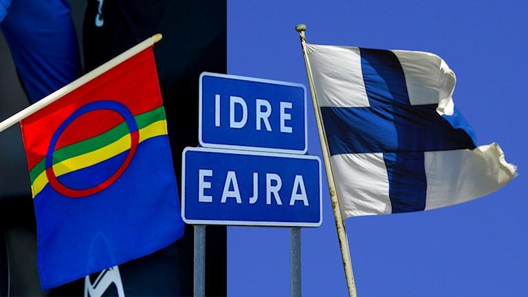 Bilden visar ett montage av samiska och finska flaggan, samt en ortsskylt för Idre (Eajra på samiska).