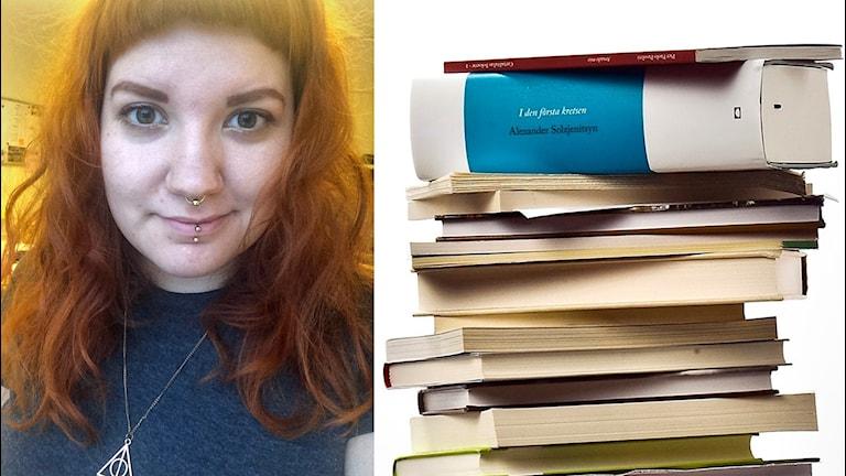 Bilden visar Ninni Skön, ungdomsbibliotekarie i Mora, och en hög böcker.
