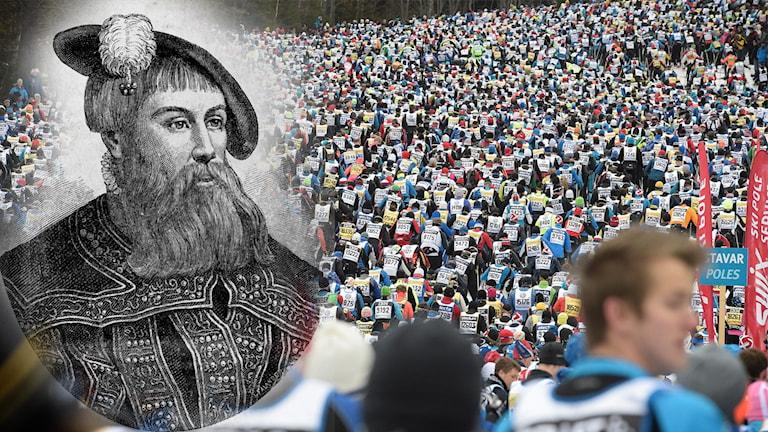 Bilden är ett montage och visar en bild av Gustav Vasa samt ett foto från Vasaloppet, men många skidåkare.