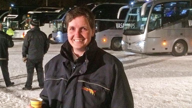 Emma Josefsson är bussförare under Vasaloppet.