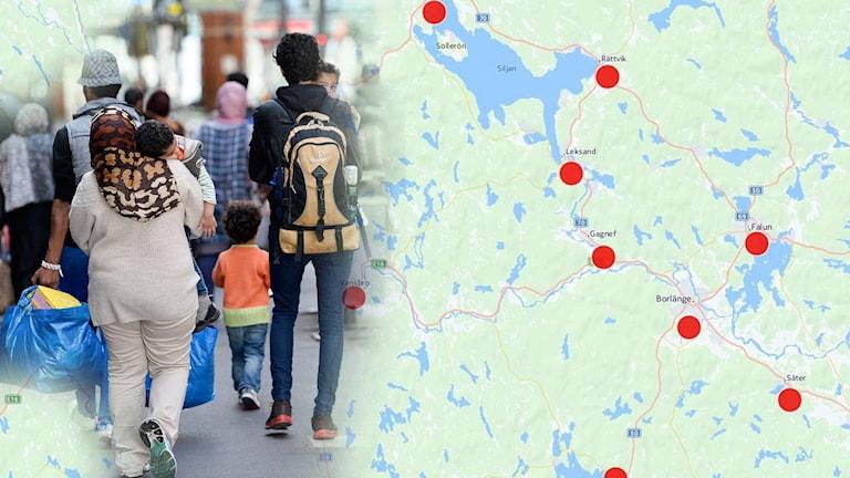 En karta över Dalarna och några flyktingar.