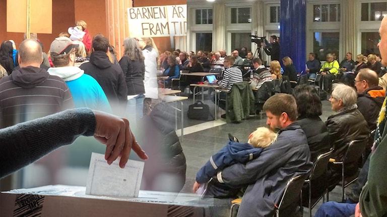 Bilden är ett montage av människor på möte och demonstrationer i Ludvika och en hand som lägger en röst i en valurna.