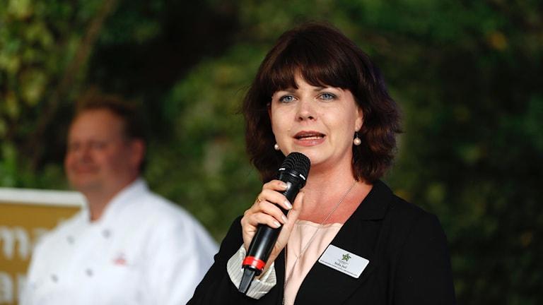 Bilden visar Sofia Jarl under tal i Almedalen för några år sedan.