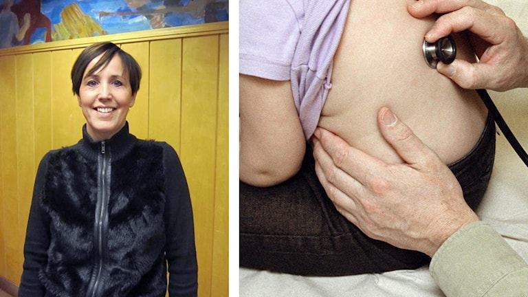 Bilden visar dels Marie-Louise Albertsson, dels ett stetoskop på ett barns rygg.