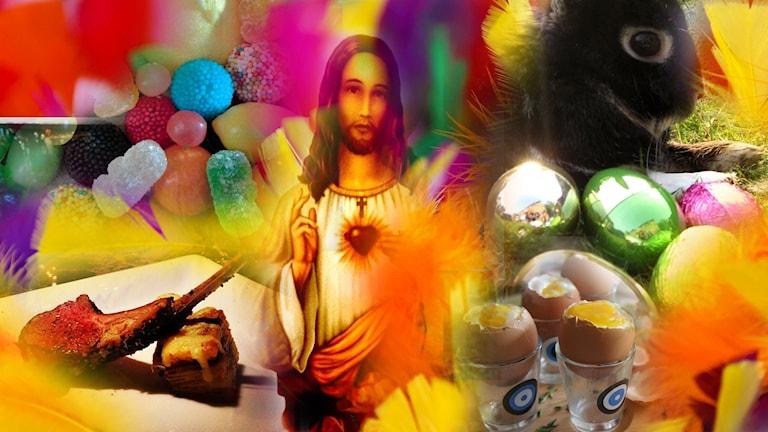 Påskpynt, godis och Jesus
