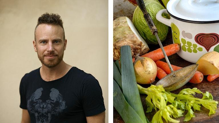 Bilden visar Daniel Öhman samt grönsaker.